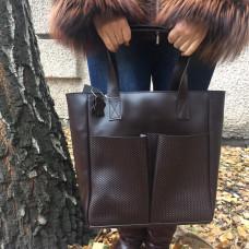"""Zetta"" bag genuine leather, chocolate colour"