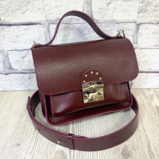 """Biyanka"" bag genuine leather, burgundy color"