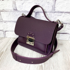"""Biyanka"" bag genuine leather, aubergine color"