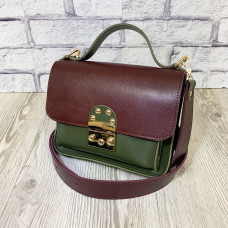 """Biyanka"" bag genuine leather, burgundy/khaki color"