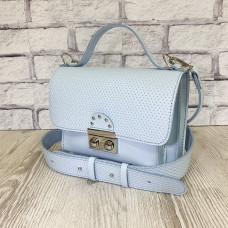 """Biyanka"" bag genuine leather, light blue color"