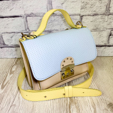 """Biyanka"" bag genuine leather, light blue/ivory/yellow"