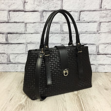 """""""Chloe"""" bag genuine leather, black color (veneto)"""