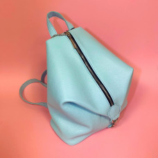 """Paris"" backpack genuine leather, light blue colour"
