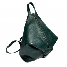 """Paris"" backpack genuine leather, green colour"