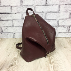 """Paris"" backpack genuine leather, burgundy color"