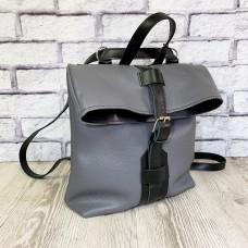"""Backpack bag """"Bond"""" genuine leather, gray color"""
