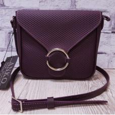 """Delta"" bag genuine leather, aubergine colour"