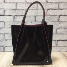 """Dolche"" bag genuine leather, black/burgundy colour"