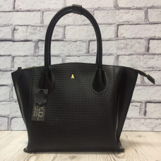 """Foldy"" bag genuine leather, black colour"
