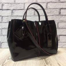 """Forta"" bag genuine leather, black/burgundy colour"