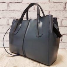 """Forta"" bag genuine leather, grey blue color"