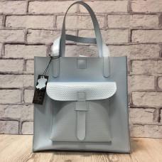"""Garda"" bag genuine leather, gently blue colour"