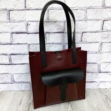 """Garda"" bag genuine leather, burgundy/black color"
