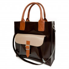 """""""Garda"""" bag genuine leather, chocolate/ivory/pottery clay color"""