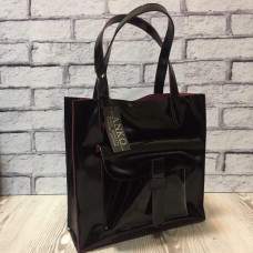 """Garda"" bag genuine leather, black/burgundy colour"