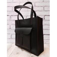 """Garda"" bag genuine leather, black super mat colour"