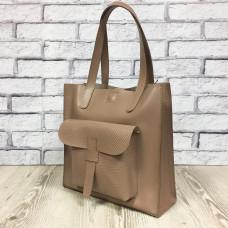 """Garda"" bag genuine leather, latte color"