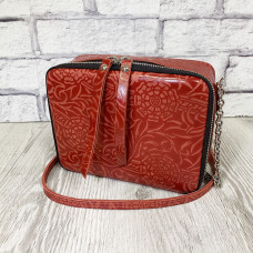 """""""Kvadro"""" bag genuine leather, red color"""