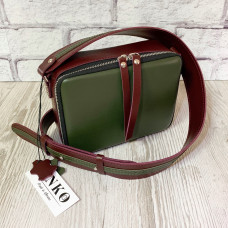 """Kvadro"" bag genuine leather, burgundy/khaki colour"