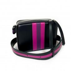 """Kvadro"" bag genuine leather, black/fuchsia/purple"