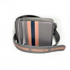 """Kvadro"" bag genuine leather, grey/pink/blue"