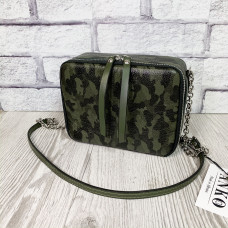 """""""Kvadro"""" bag genuine leather, green color"""