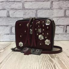 """Kvadro"" bag genuine leather, Burgundy colour"