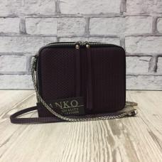 """Kvadro"" bag genuine leather, aubergine colour"