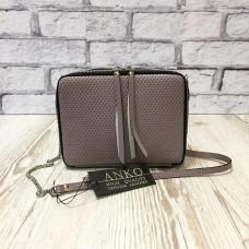 """Kvadro"" bag genuine leather, dark lavender colour"