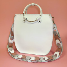 """Malva"" bag genuine leather, white colour"