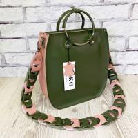 """Malva"" bag genuine leather, pink/khaki"