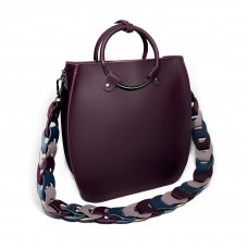 """Malva"" bag genuine leather,  aubergine colour"
