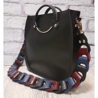 """Malva"" bag genuine leather, black colour"