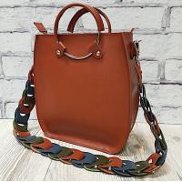 """Malva"" bag genuine leather, colour of pottery clay"