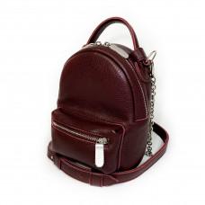 "Bag-backpack ""MINI"" genuine leather, burgundy color"