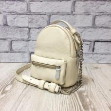 "Bag-backpack ""MINI"" genuine leather, ivory color"