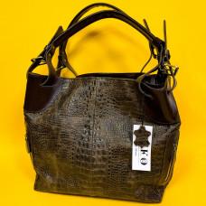 """Nata"" bag lux genuine leather, brown colour"