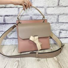 """Odry"" bag genuine leather, pink/latte/ivory"