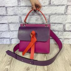 """Odry"" bag genuine leather, fuchsia/purple/paprika"