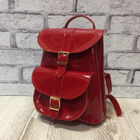 """VOYAGE"" backpack genuine leather, red colour"