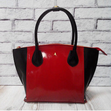 """Foldy"" bag genuine leather, red/black"