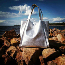 """Dolche"" bag genuine leather, silver colour"