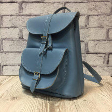 """VOYAGE"" backpack genuine leather, blue colour"
