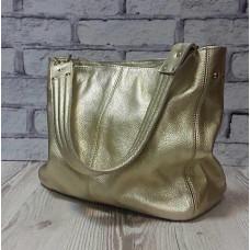 """Eva"" bag genuine leather, gold colour"