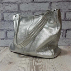 """Eva"" bag genuine leather, silver colour"
