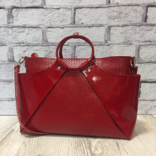 """Ronda"" bag genuine leather, red colour"