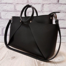 """Ronda"" bag genuine leather, black super mat colour"