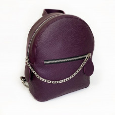 """Shine"" backpack  genuine leather, aubergine color"