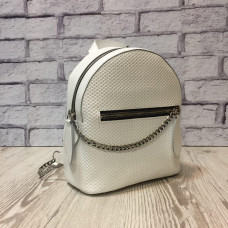 """Shine"" backpack  genuine leather, white colour"